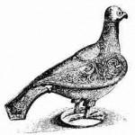 Taube als eucharistisches Gefäß für Hostien (aus: H. Dittmar, Symbol der Sehnsucht aller - die Friedenstaube, 1959, S. 74)