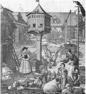 Die Tierwelt auf dem Bauernhof, Lithographie um 1830 (Museum für Dt. Volkskunde, Berlin)