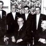 1961: 100 Jahre Groß-Bielefeld - sitzend: (von links) Dr. Theo Kaselowsky, August Dröge, Gottfried Schauppel; stehend: Wilfried Detering, Fritz Schmidt, Günter Gerlach, Egon Kopp, Adolf Ridder